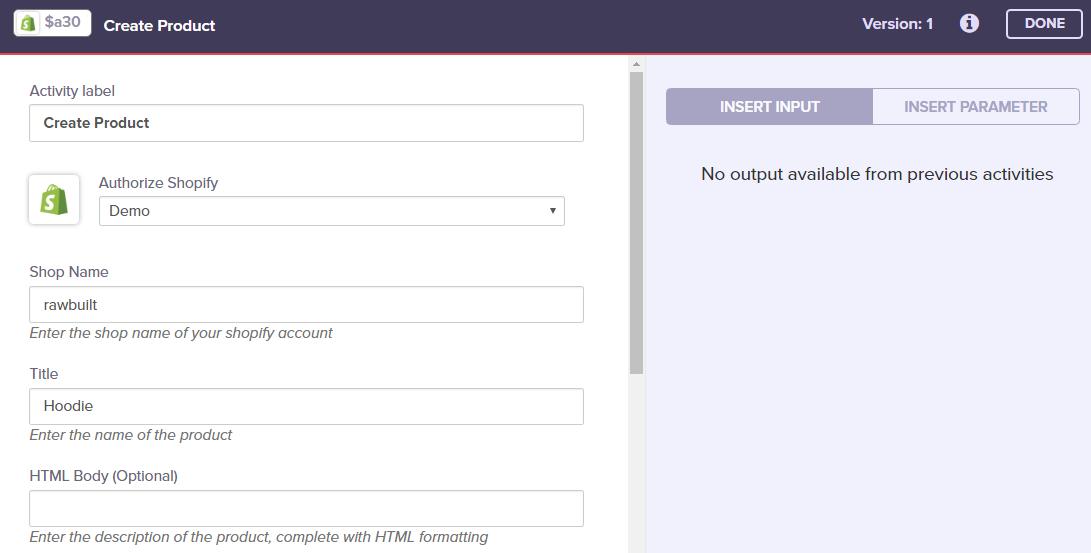 Shopify - Create Product - Built io Flow Docs