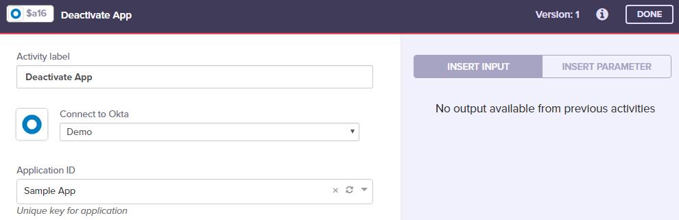 Okta - Deactivate App - Built io Flow Docs
