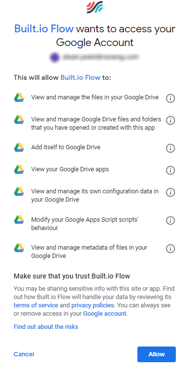 Google Drive - Built io Flow Docs